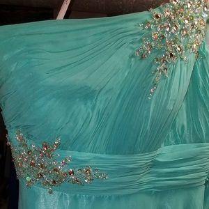Aqua long beaded gown